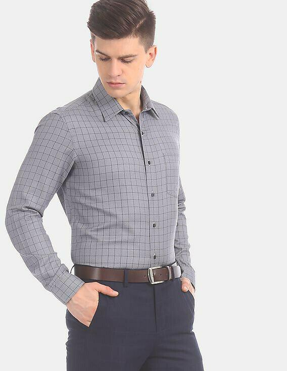 Shirt For Men In Grey Color Checks Full Sleeves