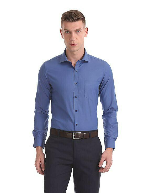 Attractive Plain Blue Formal Look Full Sleeves Office Wear Shirt