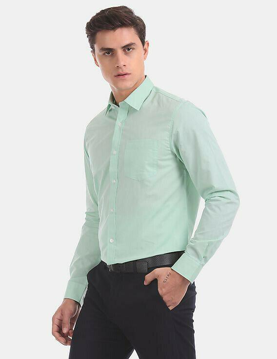 Plain Green Formal Slim Fit Casual Shirt