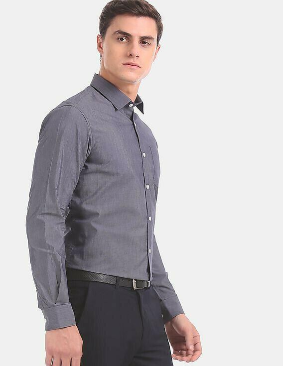 Grey Formal Look Attractive Full Sleeves Shirt