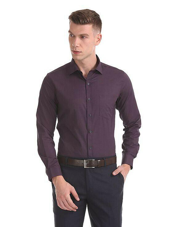 Light Wine Color Formal Wear Full Sleeves Shirt For Men