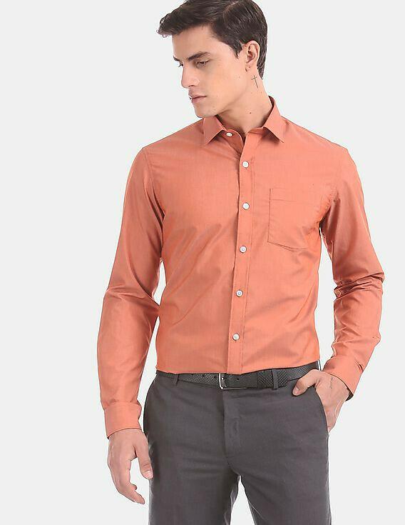 Office Wear Orange Color Full Sleeve Shirt