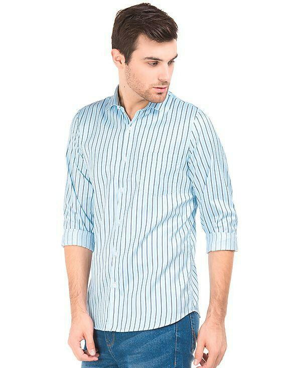 Slim Fit Medium Stripted Full Sleeves Shirt