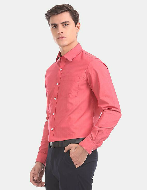Attractive Formal Look Red Color Plain Shirt