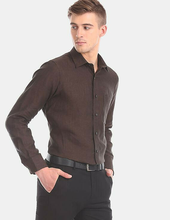 Buy Attractive Coffee Colored Slim Fit Shirt For Mens