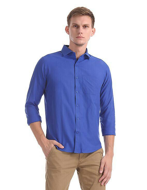 Plain Blue Color Formal Look Casual Shirt