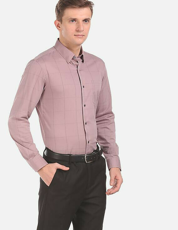 Shirt For Mens In Mauve Color Full Sleeves Casual Wear Shirt