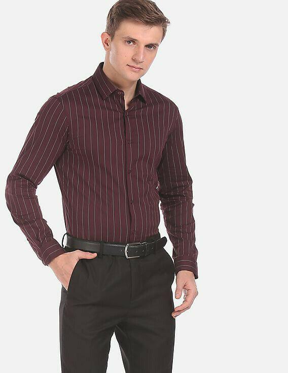 Men Wine Skinny Fit Stripe Formal Wear Shirt