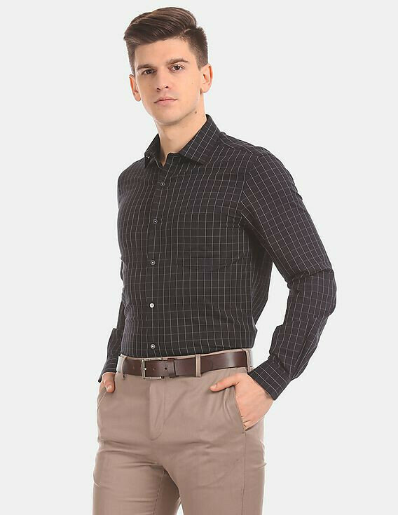 Attractive Men Black Check Stretch Formal Shirt