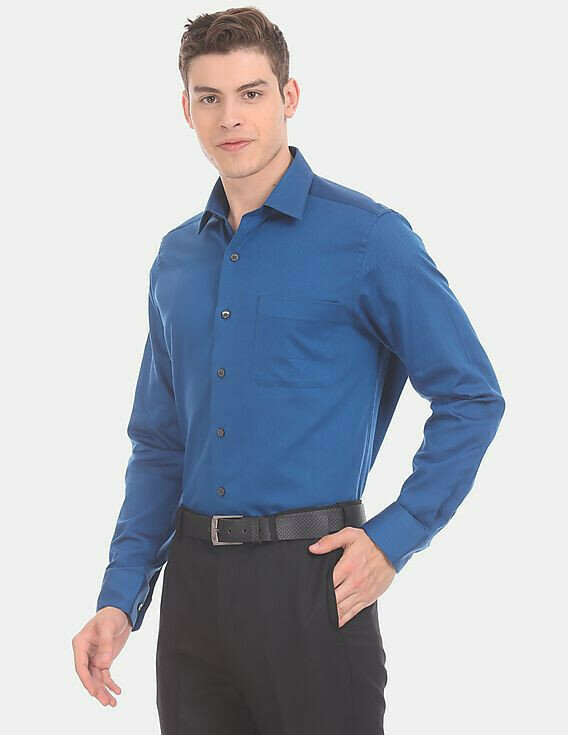 Shirt  For Mens In Blue Color Plain Long Sleeves Shirt