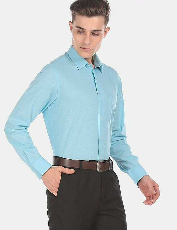 Men Looks Classic In Sky Blue Color Plain Formal Wear Shirt