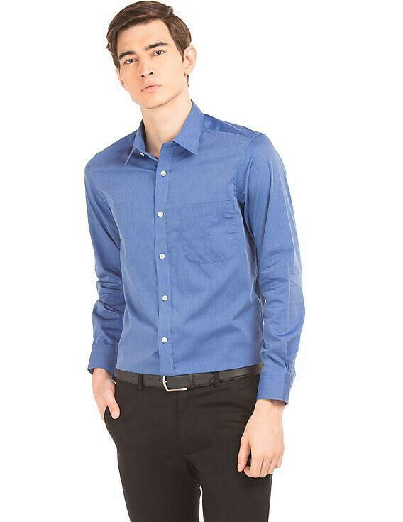 Plain Dark Blue Formal Wear Full Sleeve Shirt For Men