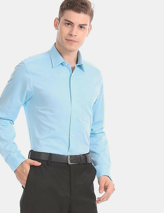 Plain Sky Blue Color Formal Wear Casual Shirt