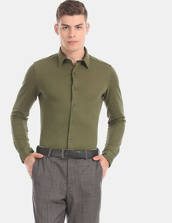 Shirt For Mens In Green Color Slim Fit Casual Wear Shirt