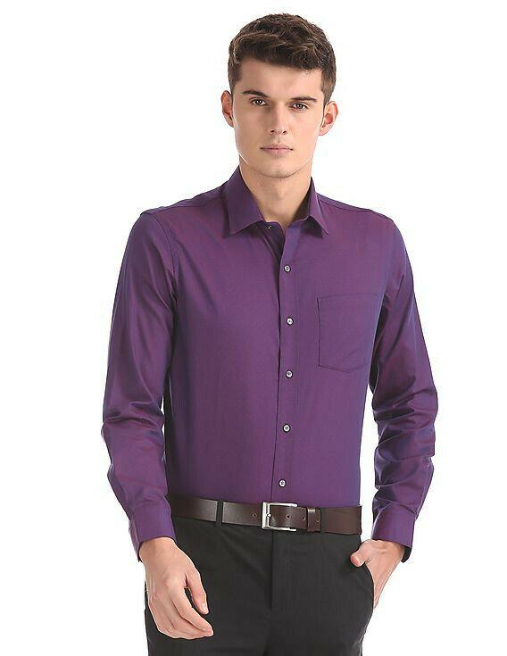 Dark Purple Plain Color Casual Wear Shirt Online