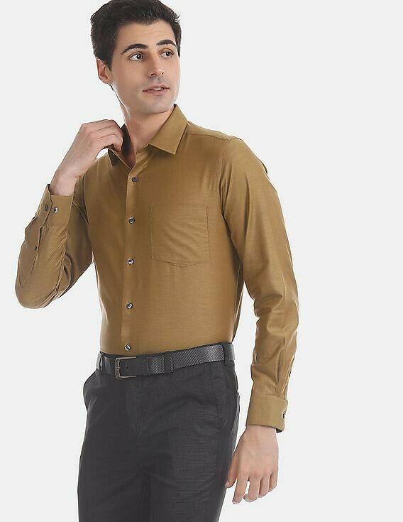 Men Wears Brown Color Plain Casual Wear Shirt