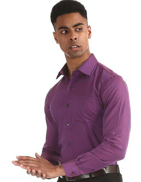 Attractive Purple Color Plain Casual Full Sleeves Shirt