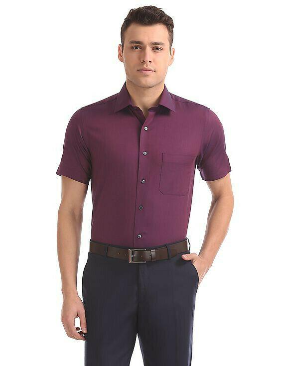 Attractive Wine Color Half Sleeve Shirt