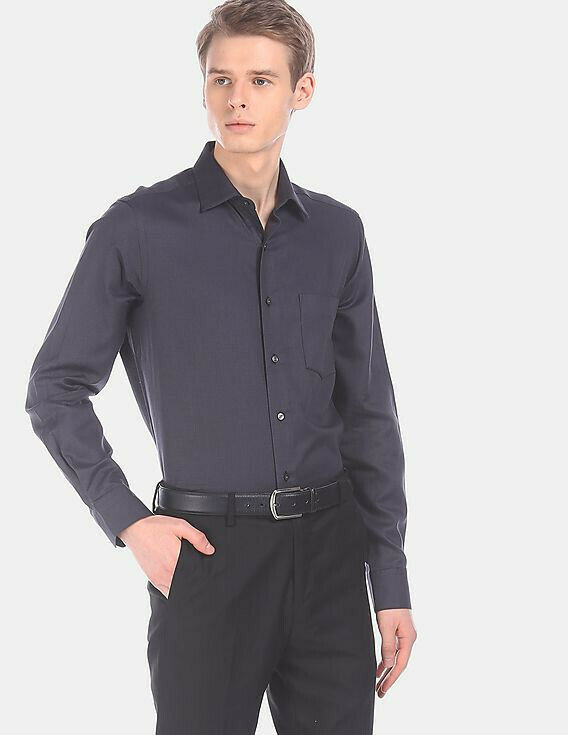 Men Charcoal Slim Fit Patterned Casual Wear Shirt