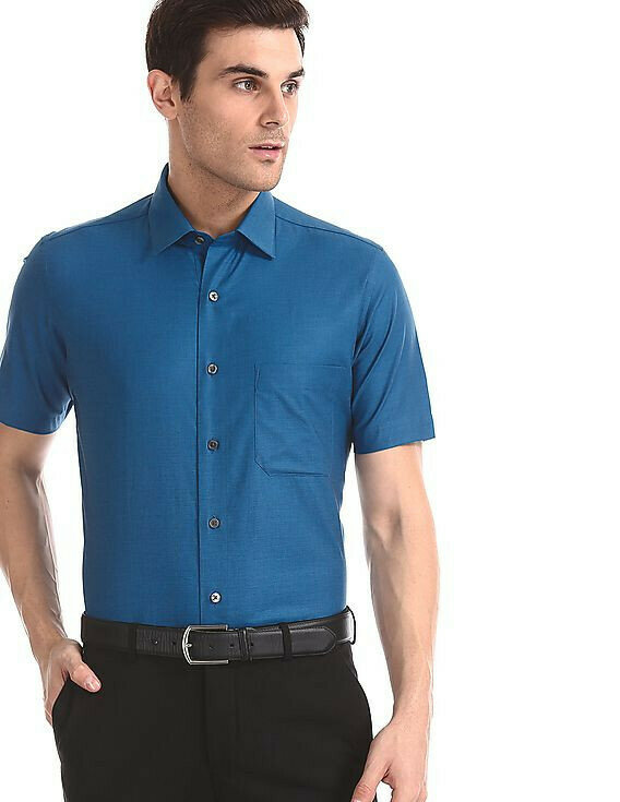 Blue Regular Fit Half Sleeves Shirt For Men