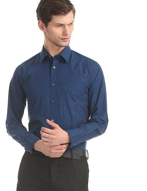 Blue Tailored Regular Slim Fit Formal Wear Shirt