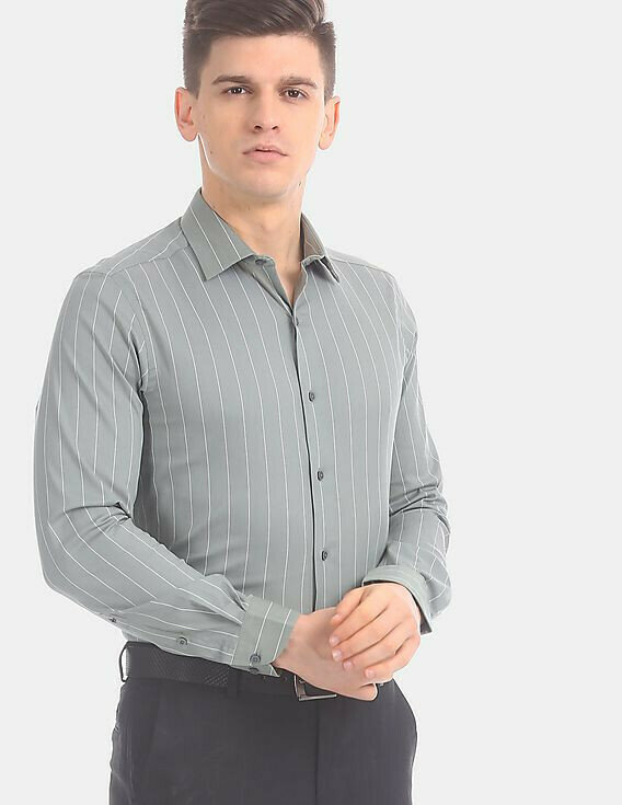 Mens Wear Olive Striped Casual Formal Shirt