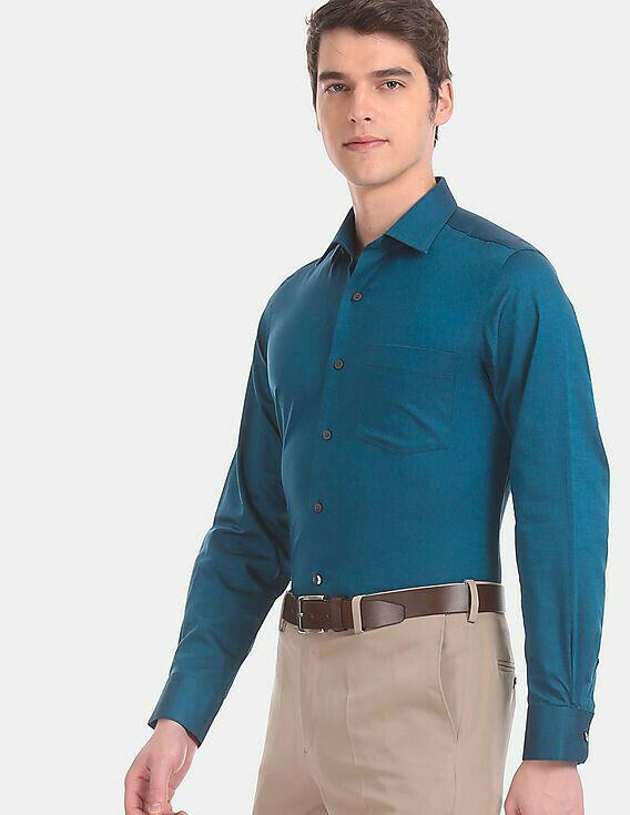 Men Green Patterned Formal Wear Shirts