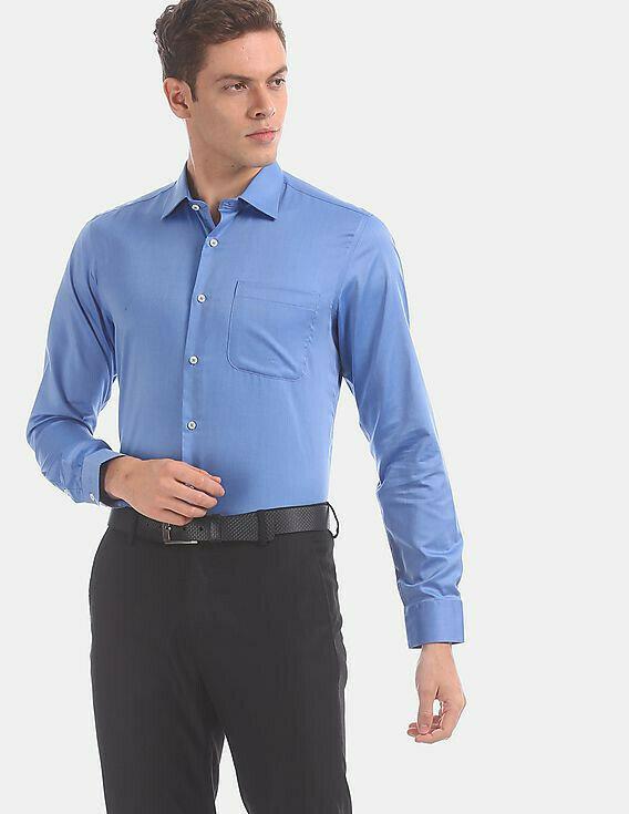 Men Blue French Placket Solid Cotton Formal Shirt Online
