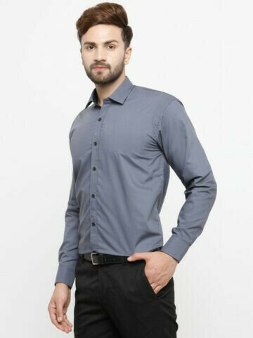 Buy Plain Grey Color Office Wear Casual Shirt