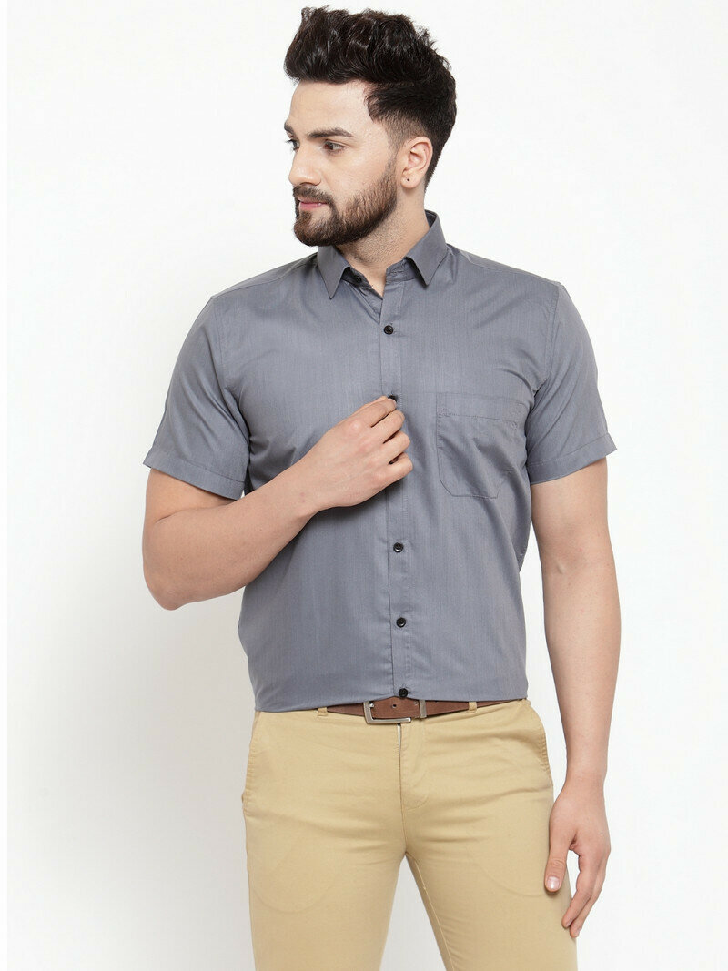 Looks Classy In Grey Color Half Sleeve Shirt