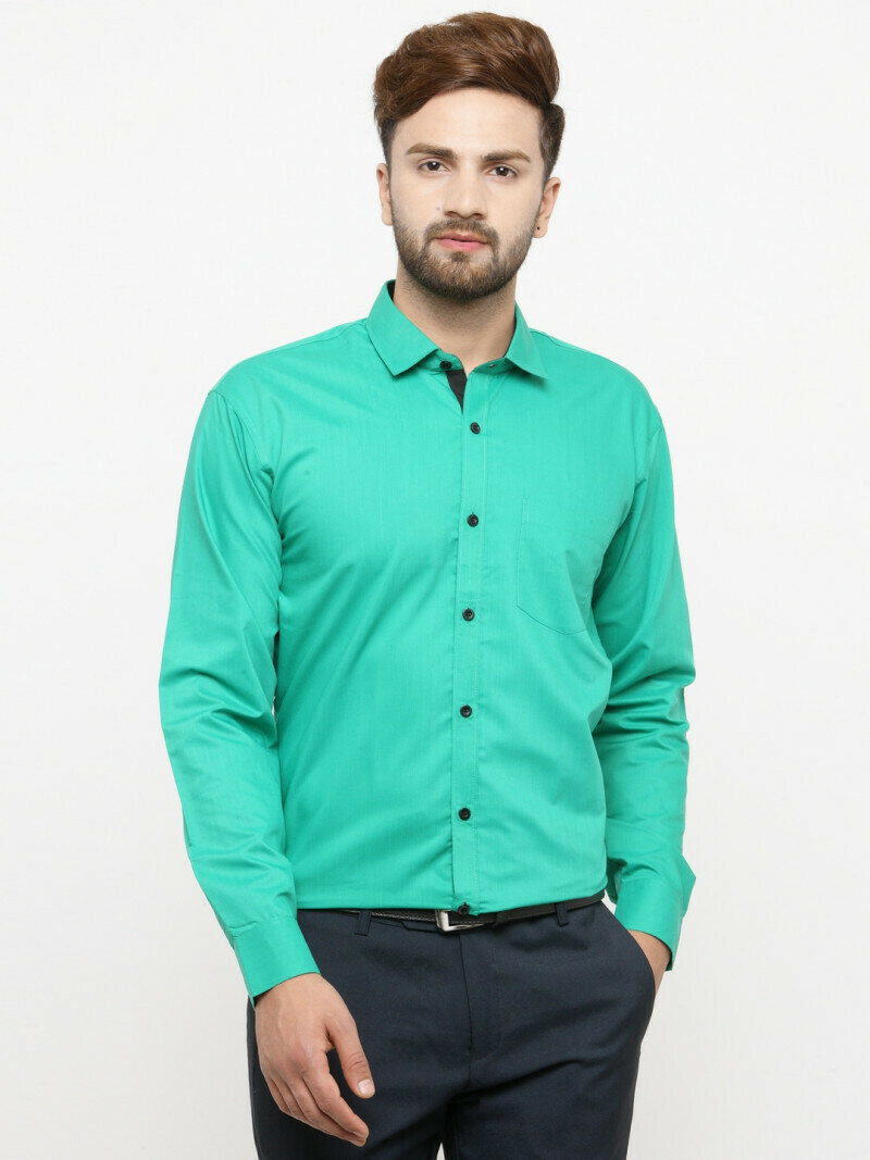 Shirt For Men In Rama Green Color Formal Wear Shirt