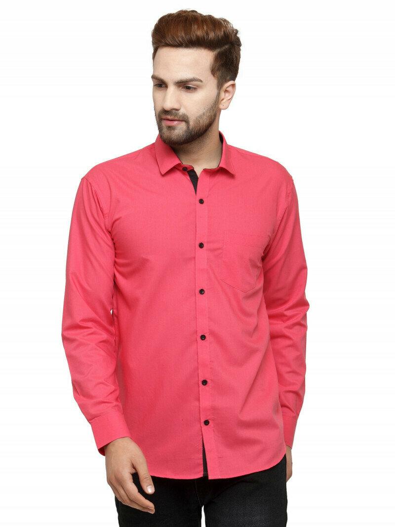 Plain Pink Color Formal Wear Shirt Online
