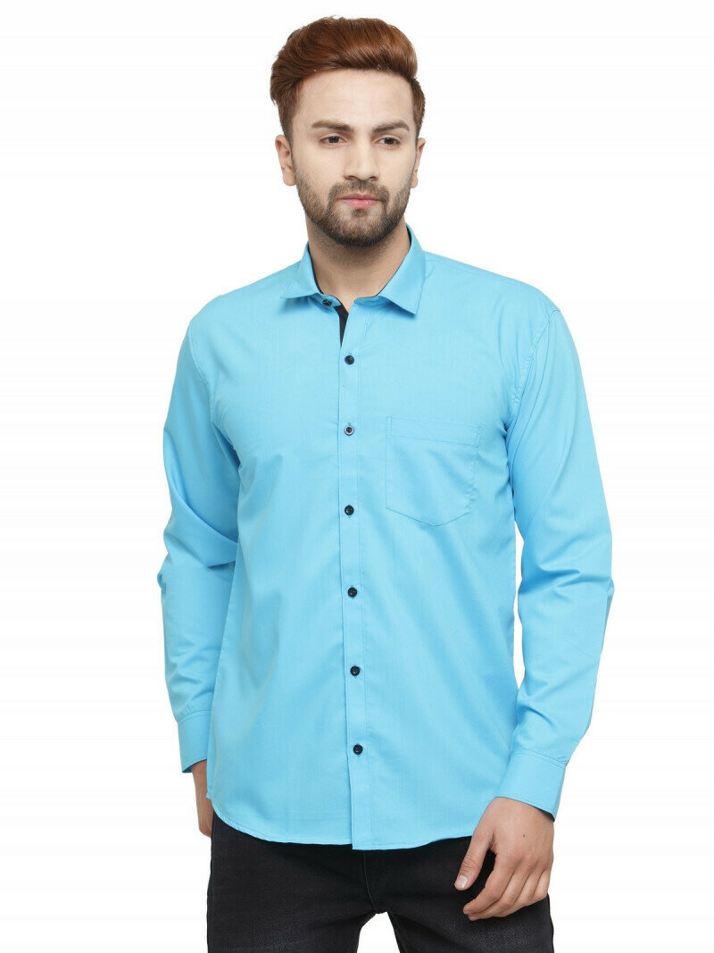 Attractive Sky Blue Colored Formal Wear Casual Shirt