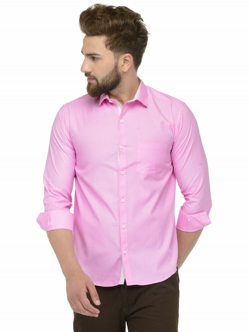 Classic Pink Color Full Sleeve Office Wear Shirt