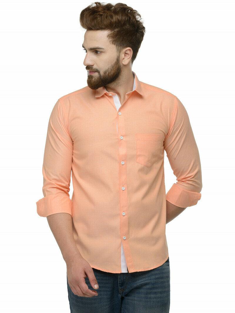 Light Orange Color Full Sleeve Casual Shirt