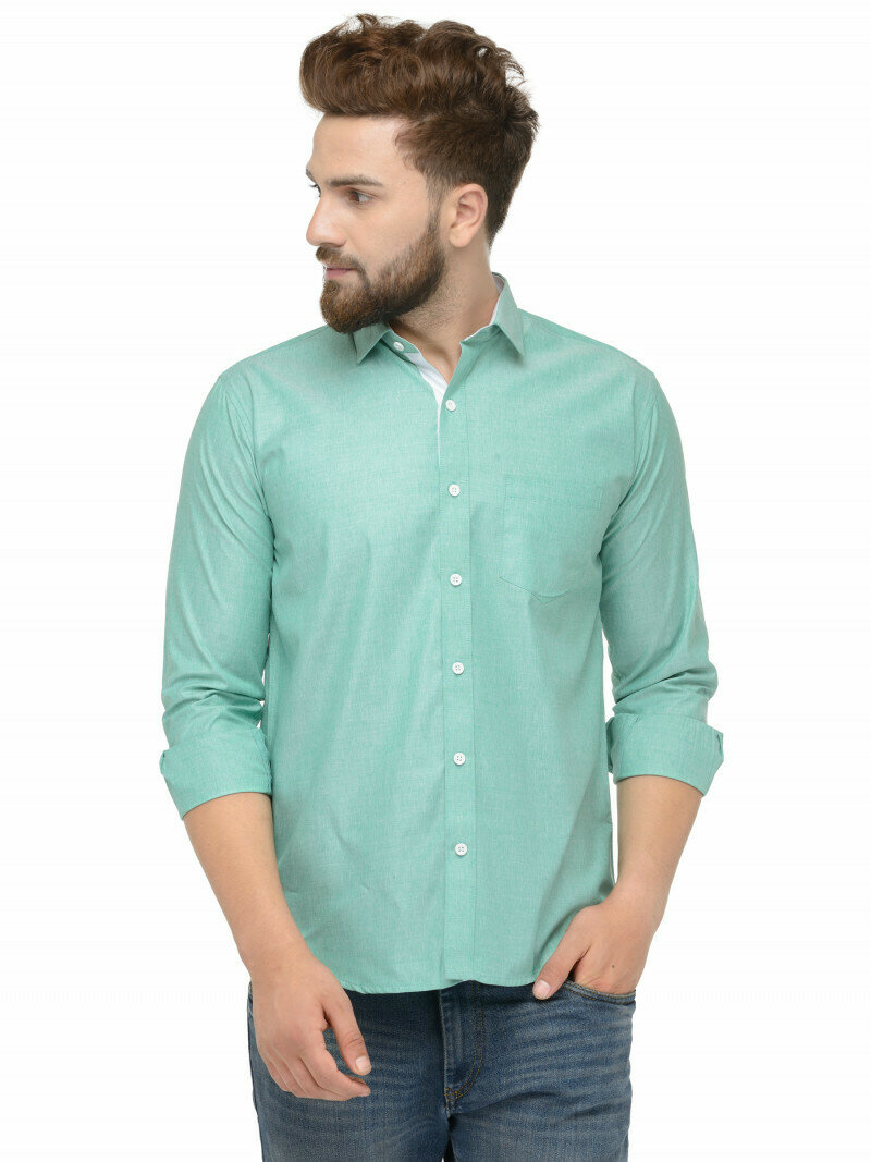 Green Color Attractive Casual Wear Shirt