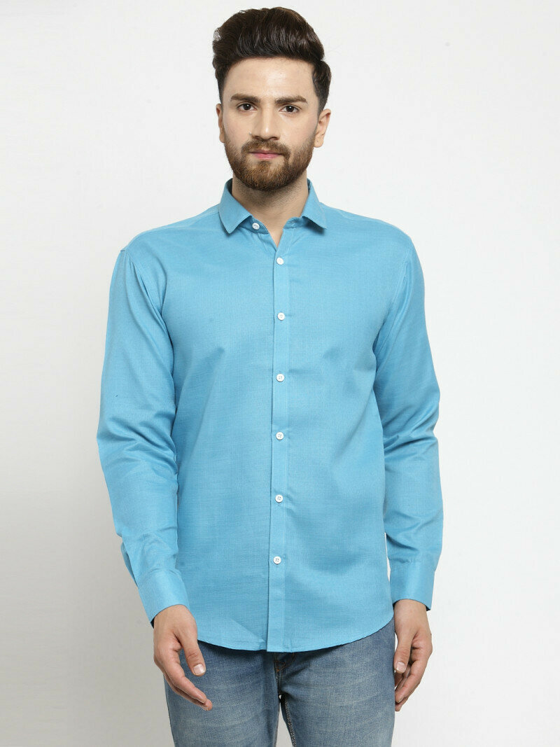 Blue Color Office Wear Casual Full Sleeve Shirt