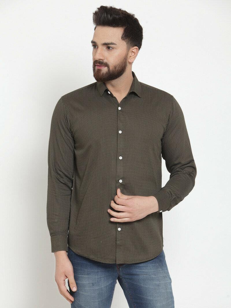 Attractive Dark Green Small Dott Printed Casual Shirt