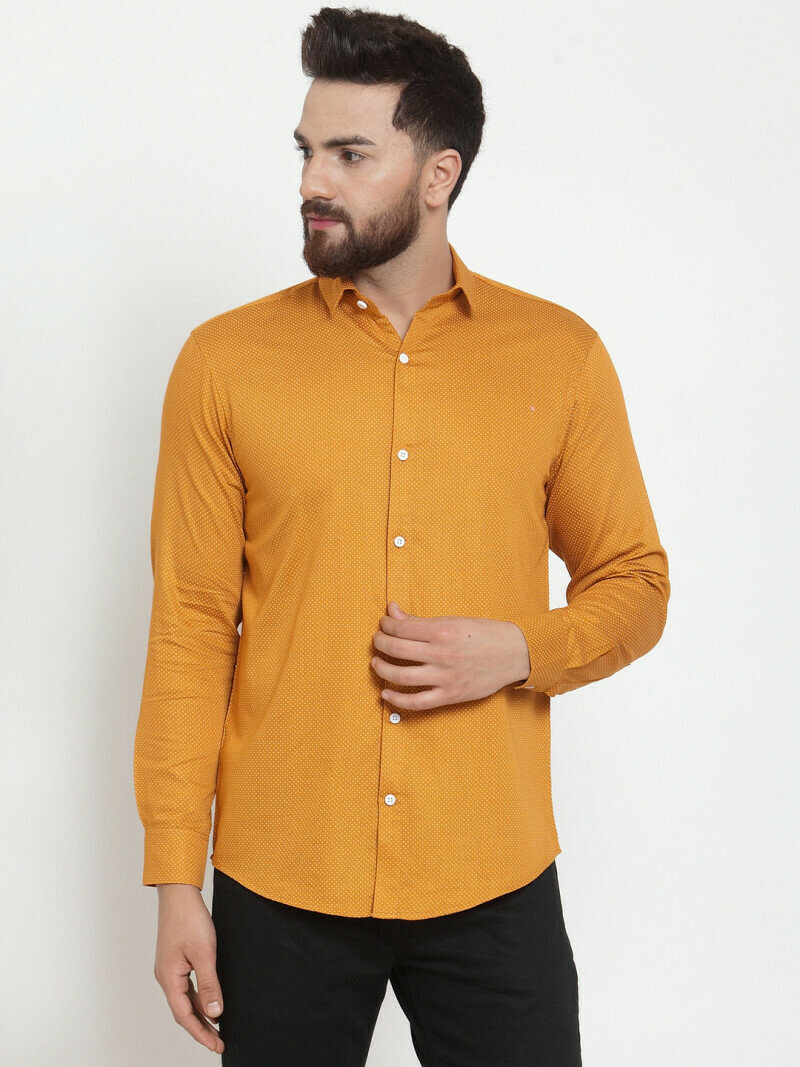 Yellow Color Small Dott Printed Casual Wear Shirt