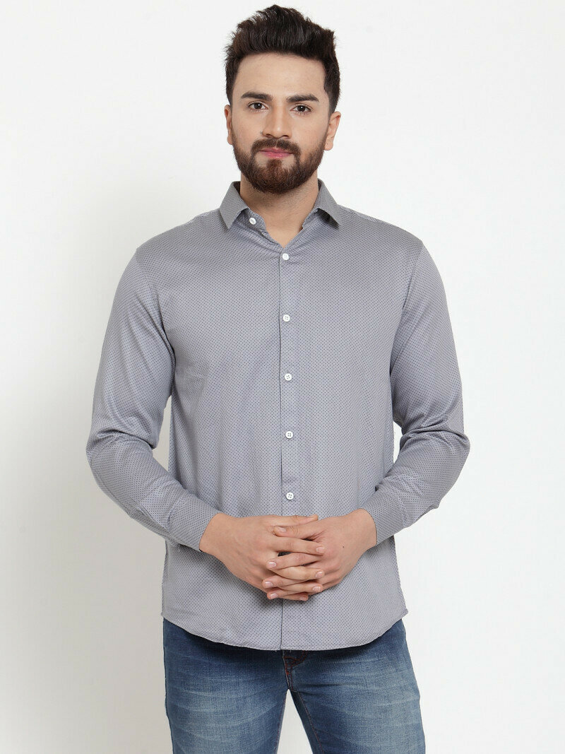 Attractive Grey Color Small Dott Printed Formal Wear Shirt