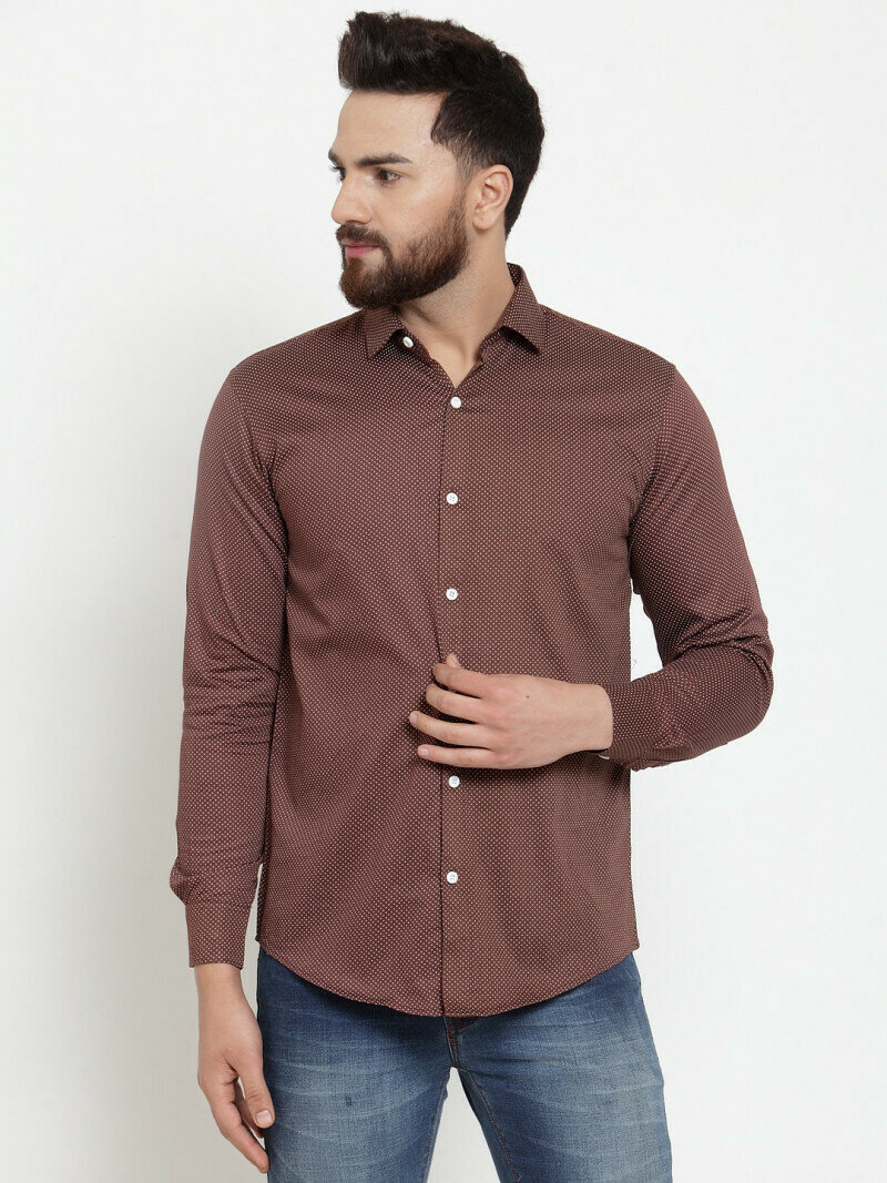 Buy Online Brown Color Small Dott Printed Shirt
