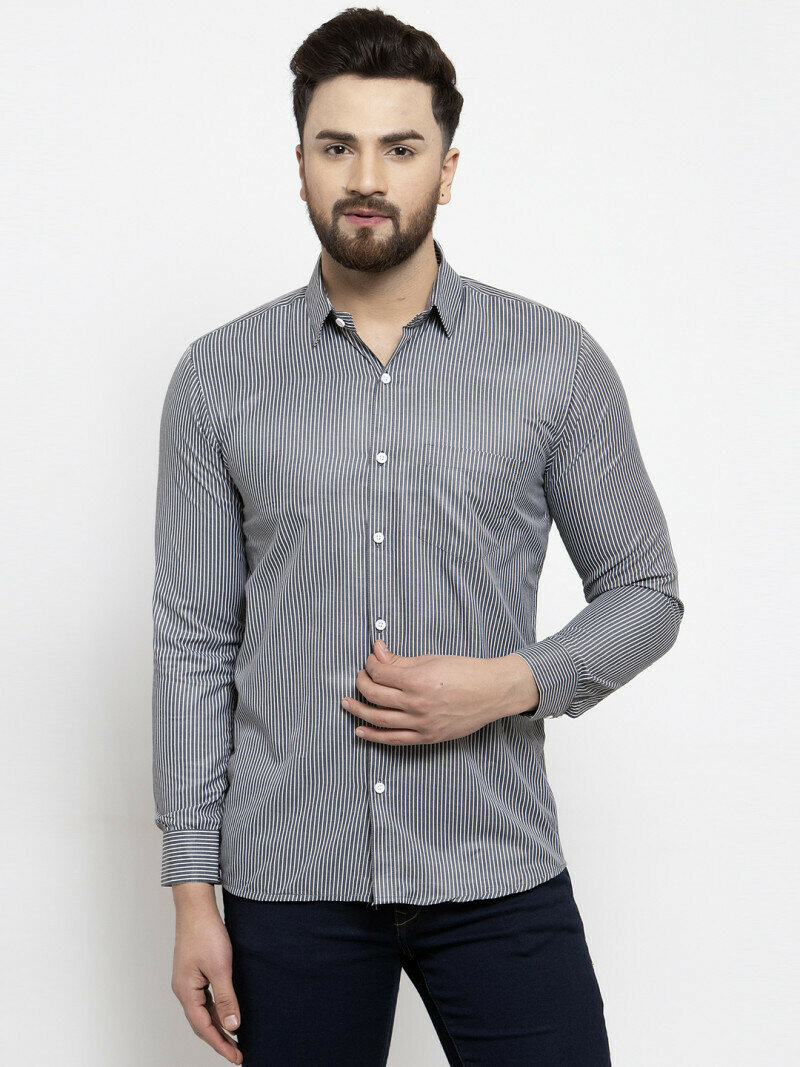 Small Lines Verticallly Grey Color Casual Wear Shirt