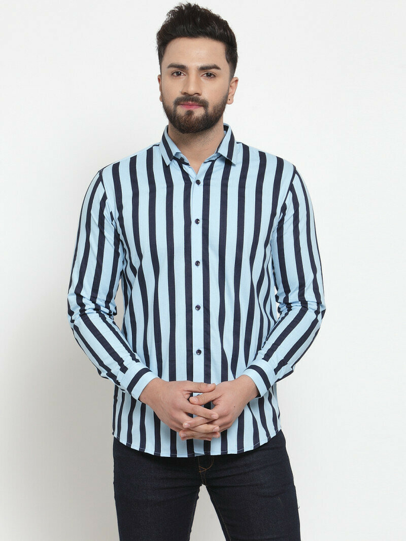 Buy Light Blue With Black Striped Casual Wear Shirt