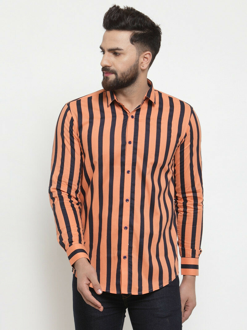 Attractive Orange Color With Small Black Striped Casual Wear Shirt