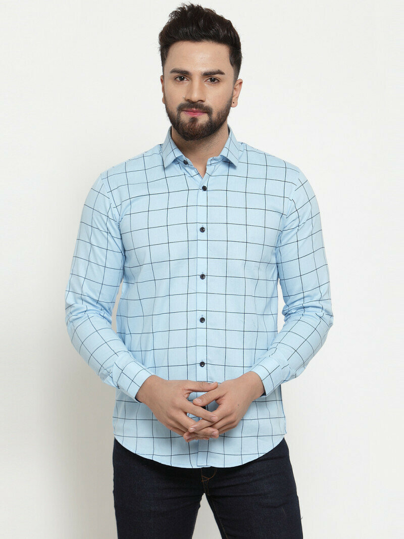 Buy Online Light Blue Color Cheks Printed Fulll Sleeves Shirt