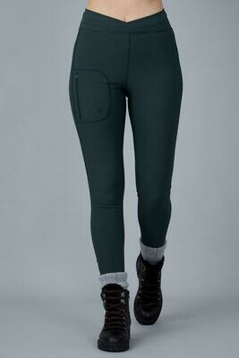 Outdoor Softshell Leggings-Forest Green