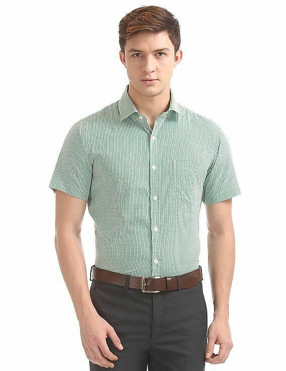 Small Checks Short Sleeve Casual Wear Shirt