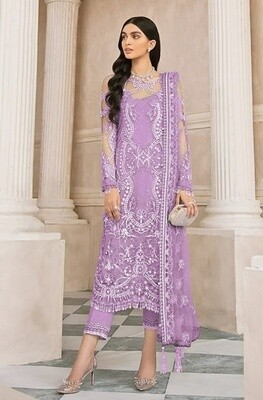 Purple  Color Embroidery Pakistani Salwar Suit