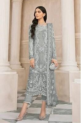 Grey Color Embroidery Pakistani Salwar Suit