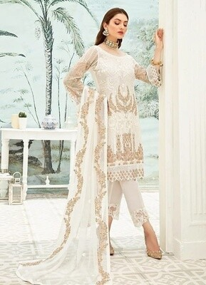 White Color Embroidery Pakistani Salwar Suit